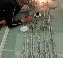 Piesiu . Glass painting . Art on glass .