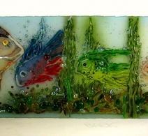 Akvariumas 38 cm. x 118 cm. Stiklo pano ., Painted glass panel  , панно  на стекле
