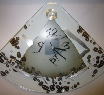Pakabinamas laikrodis virtuvei Kava , clock on glass , часы на стекле