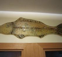 Stiklo žuvis. Gera dovana žvejui. Papuoš Jūsų pirtį ar sodybą. Stiklo žuvis . Glass fish . Glass panel . Рыба из стекла
